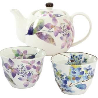 華よひら ペアポット茶器(紫陽花)