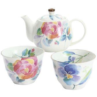 花ことば ペアポット茶器(バラ/パンジー)