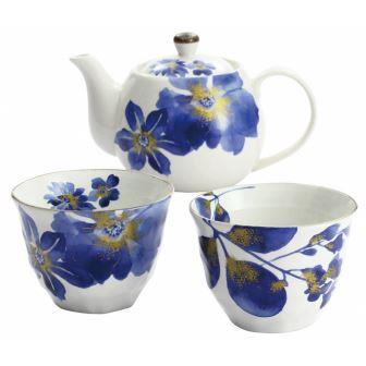 藍華 ペアポット茶器(鉄線・菊/萩)